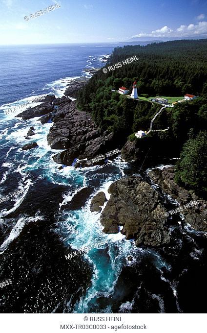 Aerial of Panhena Lighthouse, Vancouver Island, British Columbia