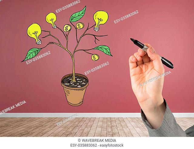 Hand holding pen and Drawing of Money and idea graphics on plant branches on wall