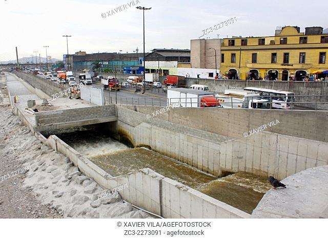 Ditch, in the north of Lima, between the historic city center and the district of Rimac, near the road, Lima, capital of Peru