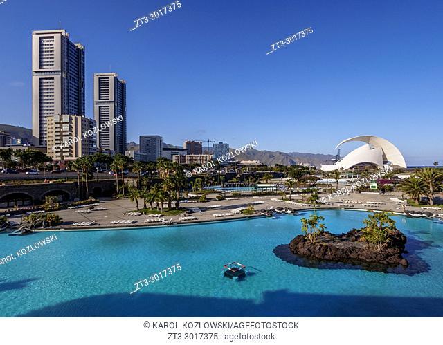 Skyline of the city with Torres de Santa Cruz, Auditorium Adan Martin and Parque Maritimo Cesar Manrique, Santa Cruz de Tenerife, Tenerife Island