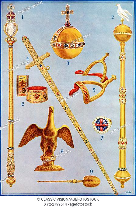 The Crown Jewels. 1. The King's Sceptre with the Cross. 2. The Sceptre with Dove. 3. The King's Orb. 4. The Jewelled Sword of State. 5