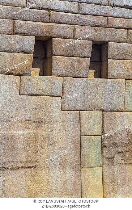 Abstract image of precision stonework at the Incan settlement of Machu Picchu