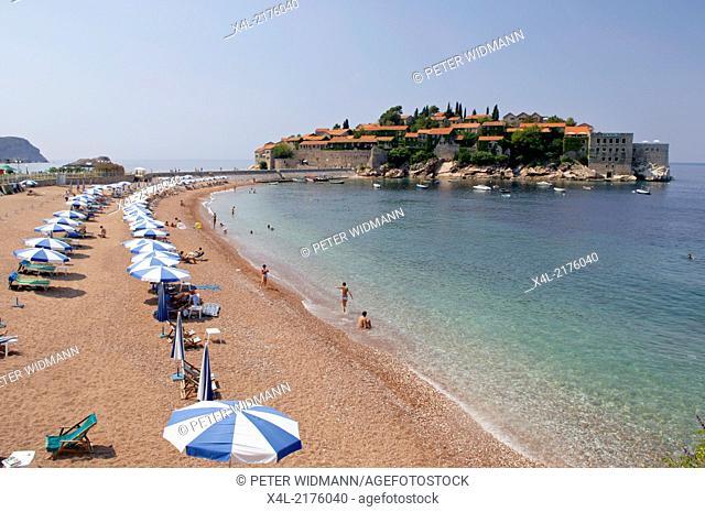 hotel peninsula Sveti Stefan and beach, Serbia-Montenegro, Montenegro, Sveti Stefan