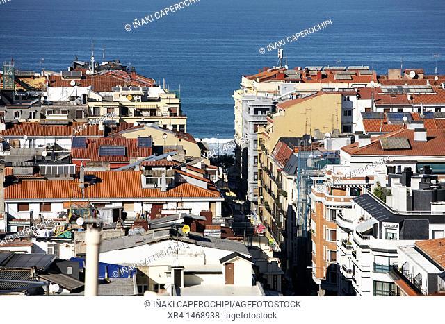 View of rooftops in the neighborhood of Gros, San Sebastian, Guipuzcoa, Basque Country, Spain