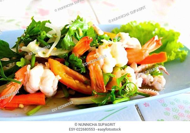 Thai spicy seafood salad