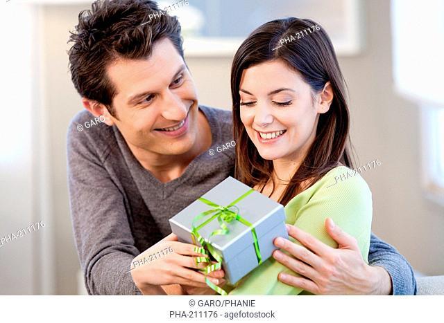 Woman receiving a present
