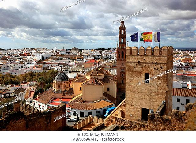 Spain, Andalusia, town Carmona in the province Seville, view from the Alkazar de la Puerta de Seville to Torre del Oro, the cathedral San Pedro and the old town