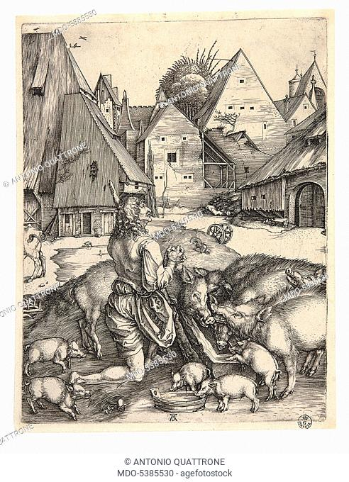 The Prodigal Son, by Albrecht Durer, 1496, 15th Century, burin engraving