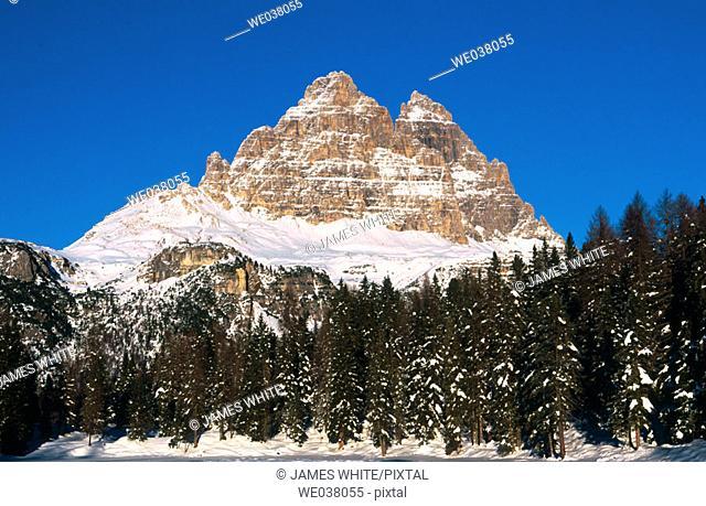 Three Chimneys. View from the lake of Antorno near Misurina. Misurina Dolomites. Italy