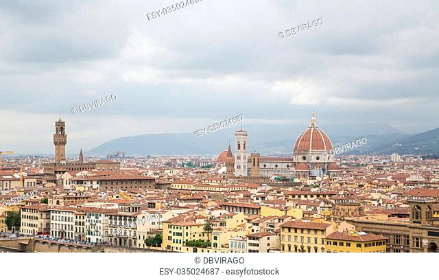 A view of Florence, Italy from a nearby hillside
