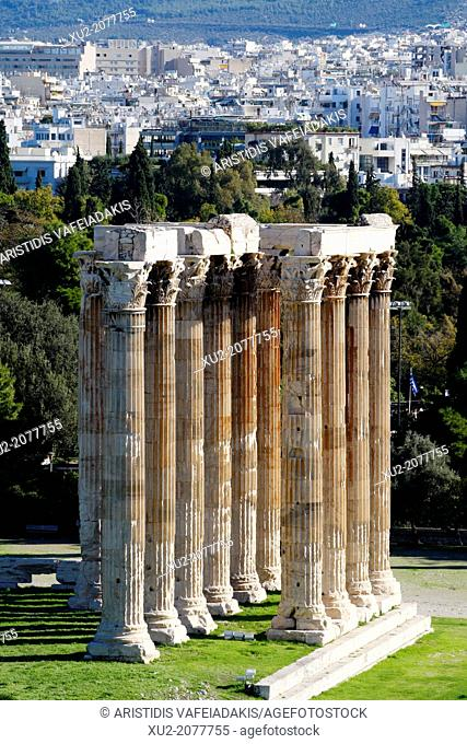 Temple of Olympian Zeus. The historic center of Athens from Hotel rooftops