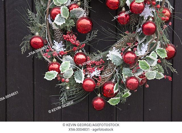 Red Ball Christmas Decoration on Front Door