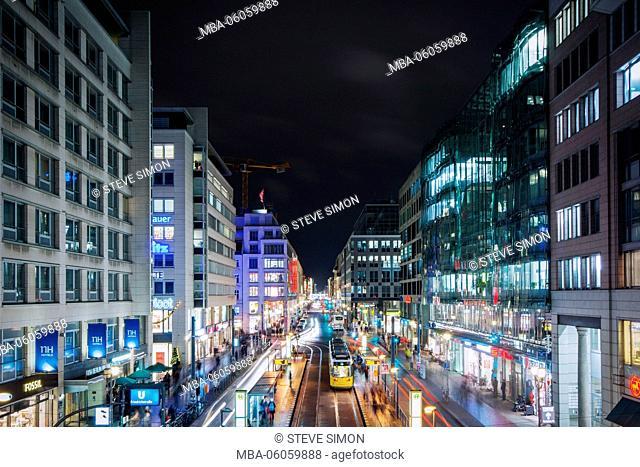 Friedrichstrasse at night, view in the street