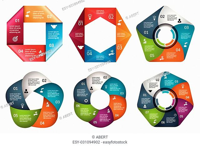 Vector circle element for infographic. Template for cycle diagram, graph, presentation and round chart. Business concept with 4, 5, 6 and 7 options, parts