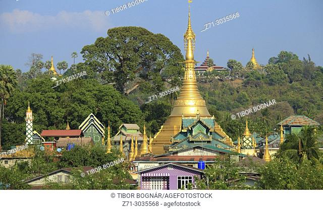 Myanmar, Mon State, Mawlamyine, Kyaik Thoke Pagoda, skyline,