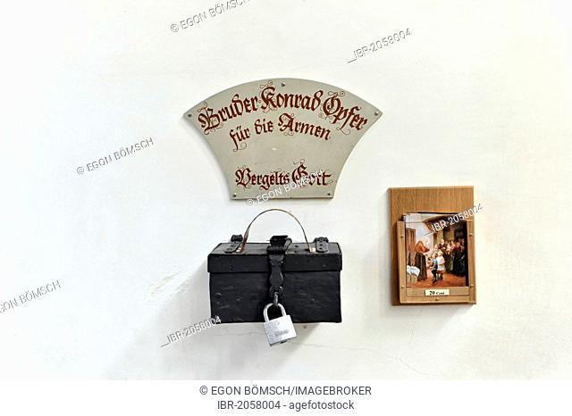 Bruder Konrad offertory box, Peterskirche church, St. Peter's Church, Munich, Bavaria, Germany, Europe