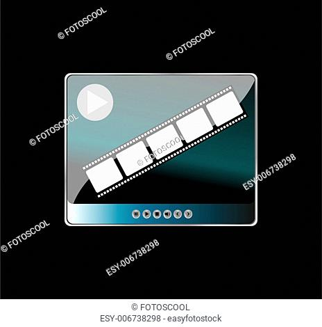 media player and film strip on black background