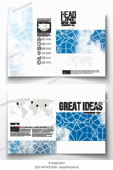 Set of business templates for brochure, magazine, flyer, booklet or annual report. Beautiful blue sky, abstract geometric background with white clouds