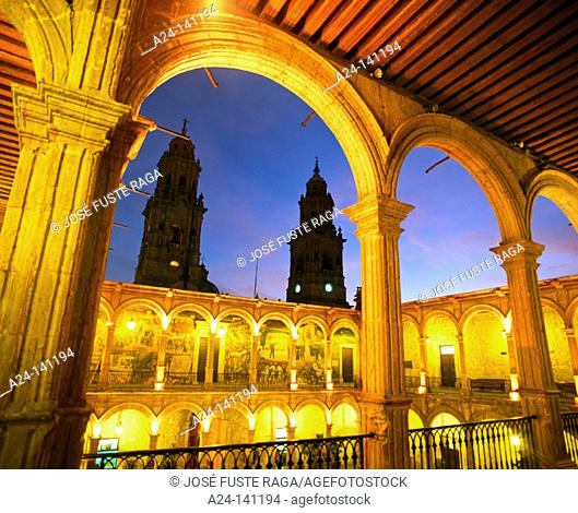 Government Palace, courtyard and belfries of the cathedral. Morelia. Michoacan. Mexico