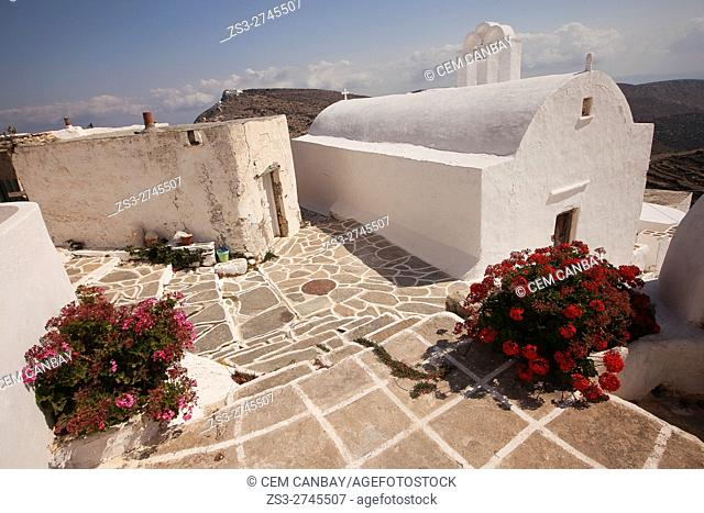 White chapel in the old town Chora-Chorio, Sikinos, Cyclades Islands, Greek Islands, Greece, Europe