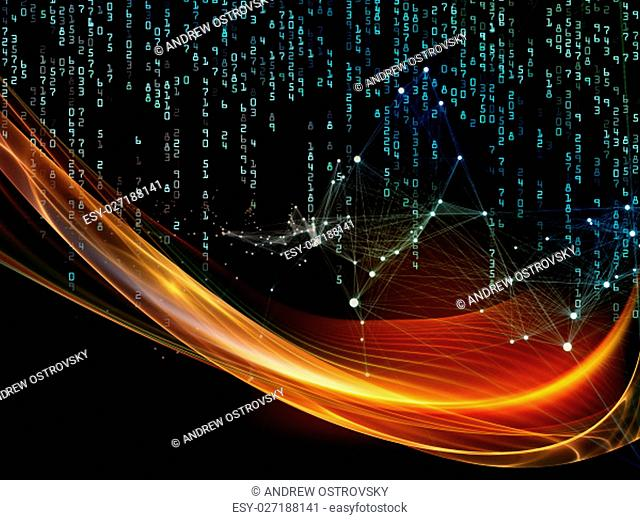 Information Tide series. Composition of fractal wave, network structure and numbers on the subject of digital business, science, communications and technology