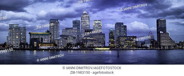 Canary Wharf on the river Thames-panorama,London,UK