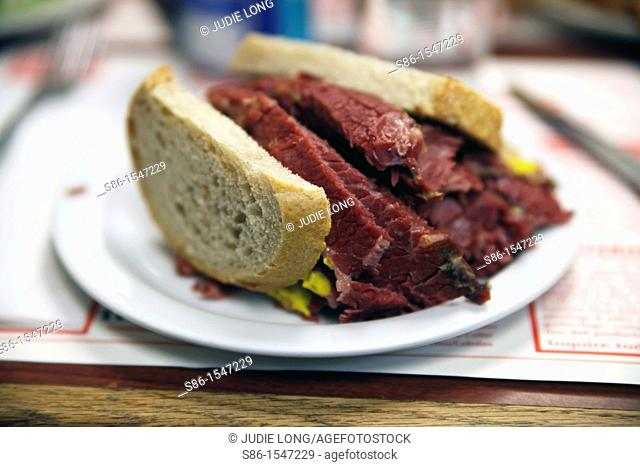 Corned Beef Sandwichwaiting to be served, in a Jewish, Kosher, Delicatessin