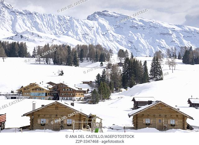 Panoramic view on the Dolomites here on the Alpe di Siusi, Europe's largest high alpine pasture. Trentino-Alto Adige South tirol Italy
