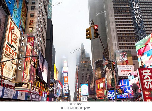 View of Time Square at dusk