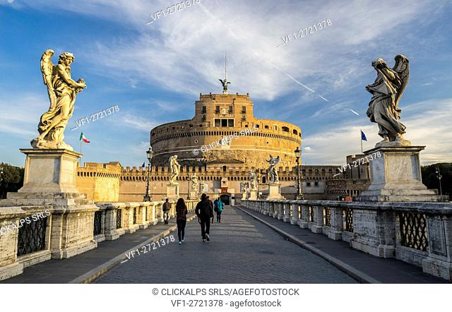 St. Angelo Bridge, Rome, Lazio. The Mausoleum of Hadrian or Castel Sant Angelo at dawn, Italy