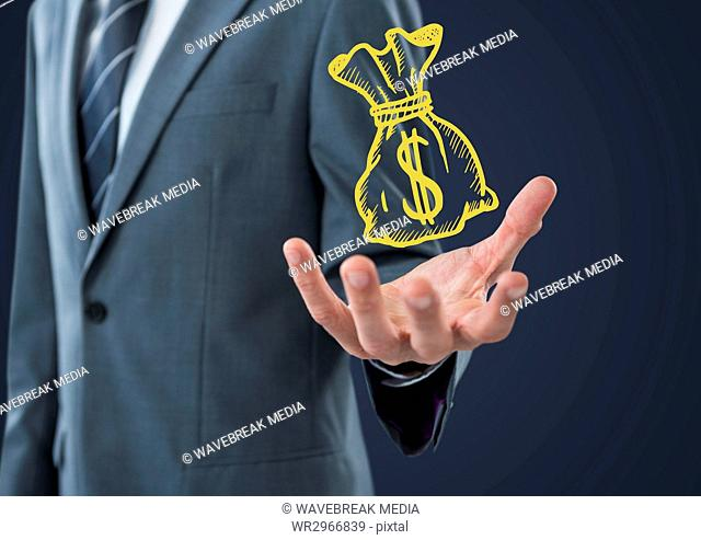 Business man mid section with yellow moneybag doodle in hand against navy background