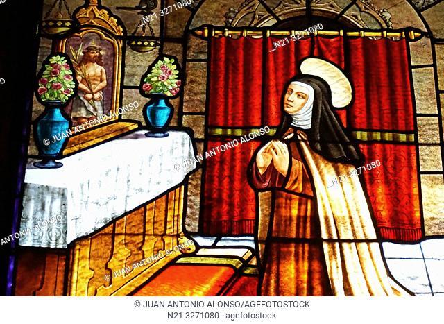 Stained glass depicting Santa Teresa. Convent of Santa Teresa. Avila, Castilla-Leon, Spain, Europe