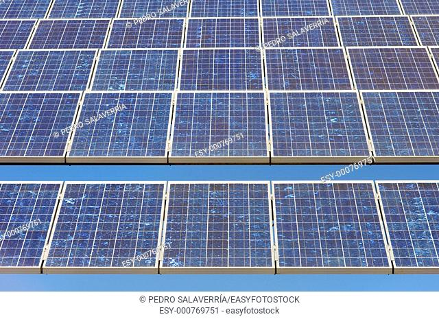 detail of a photovoltaic panel for electricity production in Sadaba, Saragossa, Aragon, Spain