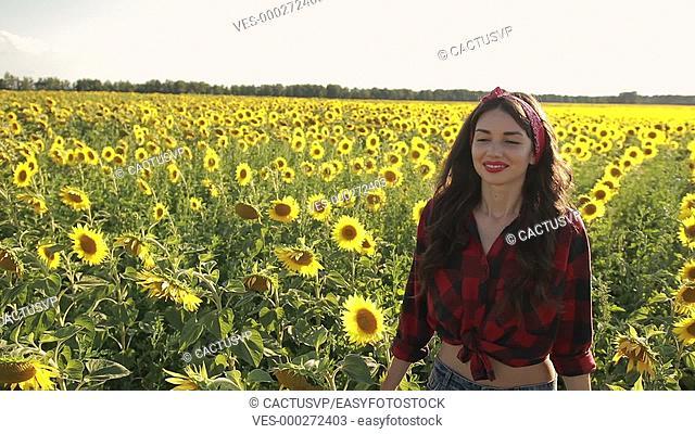 Sensual brunette girl walking in sunflower field