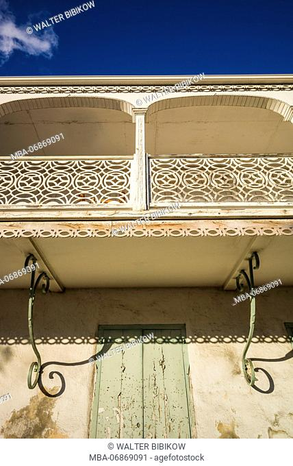 French West Indies, St-Martin, Marigot, ornate balcony