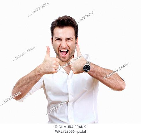 achievement, adult, agreement, background, cheerful, excited, fun, gesture, happiness, happy, human, isolated, joy, life, male, man, modern, natural, one
