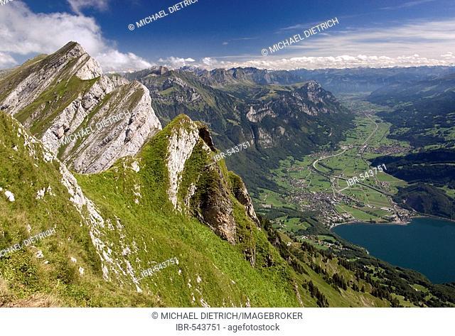 View from one peak of the Kurfuersten ridge to Walenstadt and the valley of the Seez, Alps, Switzerland