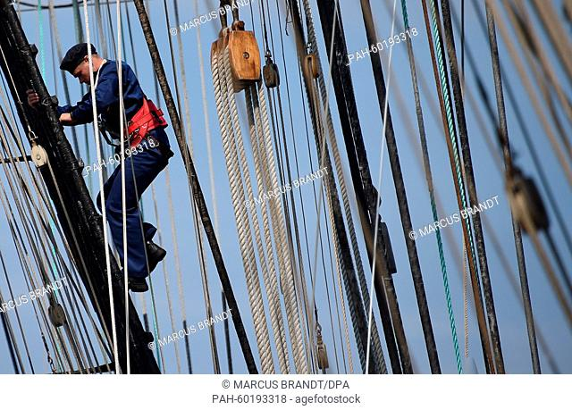 "A naval base in Kaliningrad, Russia, 19 July 2015 where cadets climb up the masts of destroyed ship """"Kruzenstern"""" of the Russian Navy"
