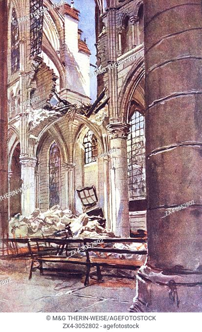 Interior of the Soissons cathedral after a bombing, 1915, France