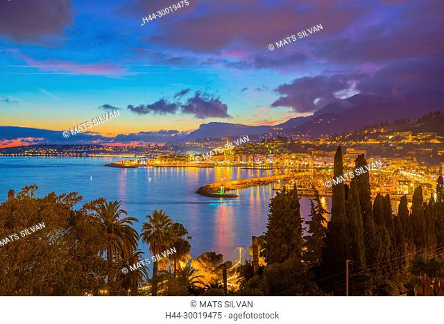 Panoramic View Over Menton and Mediterranean Sea in Dusk In Provence-Alpes-Côte d'Azur, France