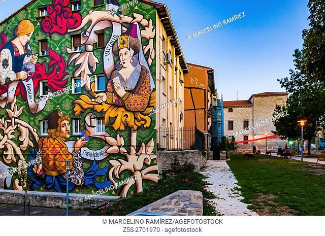 El Triunfo de Vitoria. Mural itinerary of Vitoria, IMVG. Calle Santa María 9. Vitoria-Gasteiz, Álava, Basque Country, Spain, Europe