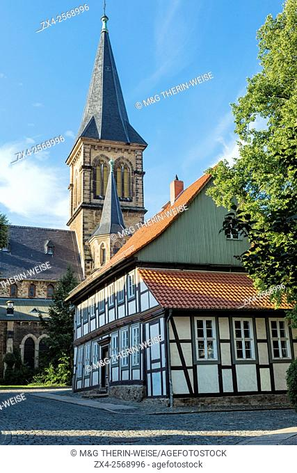 St. Sylvester Church bell tower and Half-timbered houses, Wernigerode, Harz, Saxony-Anhalt, Germany