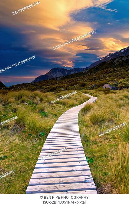 Wooden walkway in rural landscape