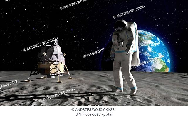 Artwork of an astronaut on the moon