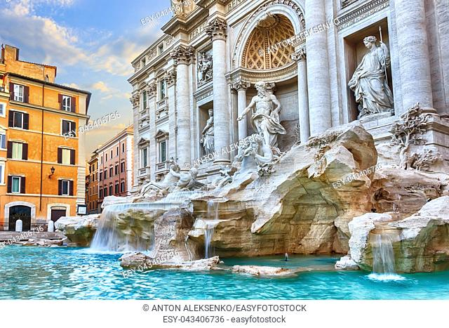 Trevi Fountain in Rome, morning view, with no people