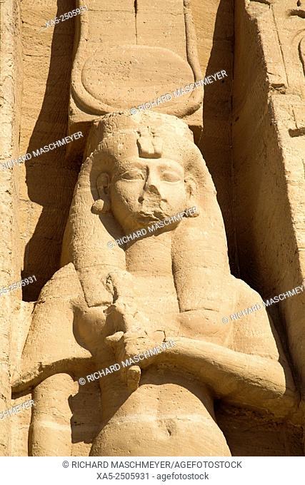 Rock-hewn Statue of Queen Nefertari, Hathor Temple of Queen Nefertari, Abu Simbel, Egypt