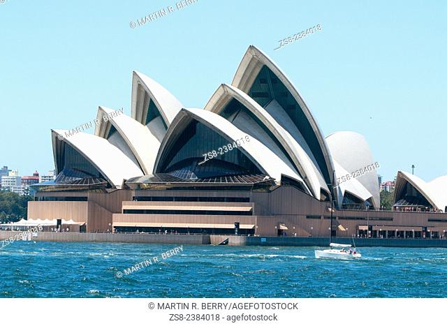 sydney opera house viewed from the harbor,australia