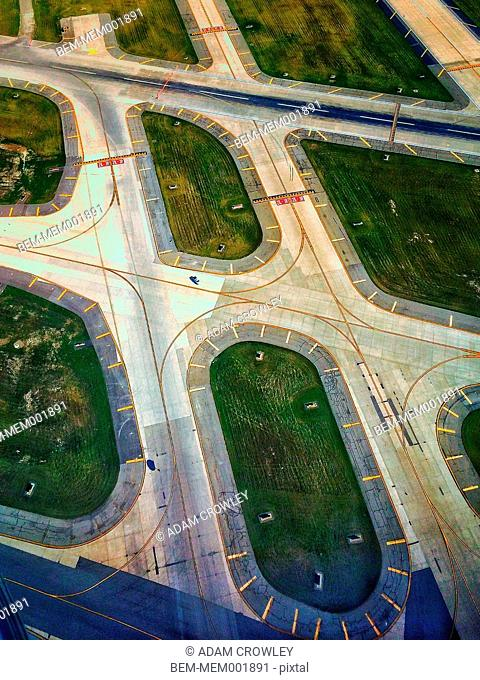 High angle view of highways and green spaces