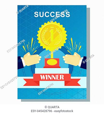 Win in competition, success and award concept in business poster design. Applause for winner of competition. Achievement concept