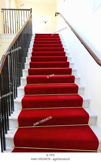 UK, United Kingdom, Great Britain, Britain, England, London, Kensington, Kensington Palace, Palace, Palaces, Interior, Stairs, Staircase, Red Carpet, Carpet